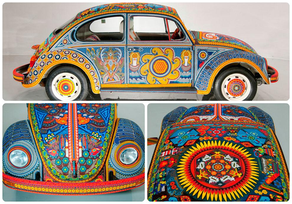 Автомобиль Фольксваген Жук покрытый бисером в стиле Уичоли
