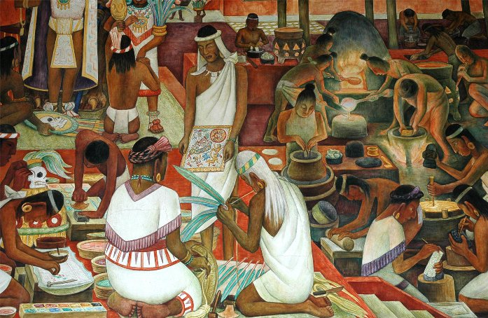Худ. Диего Ривера. Продуктовый рынок ацтеков в Тлателолько, фреска в Национальном дворце Мехико.