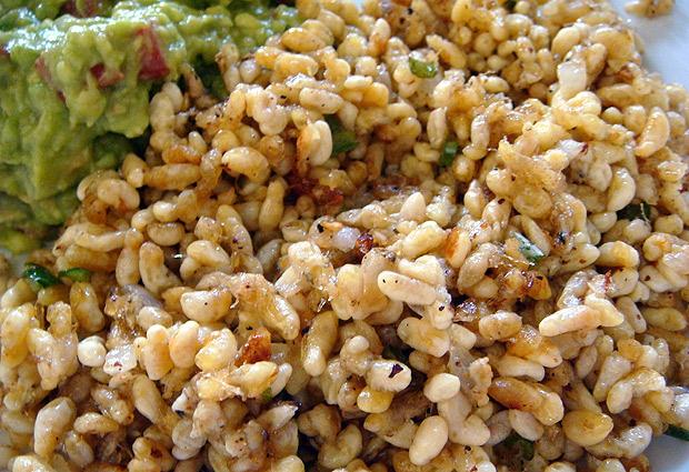 Эскамолес - доиспанское блюдо из личинок муравьев. Мексика