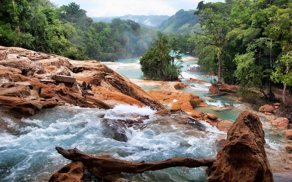 Порожистая река в горах Сьерра Мадре в Мексике