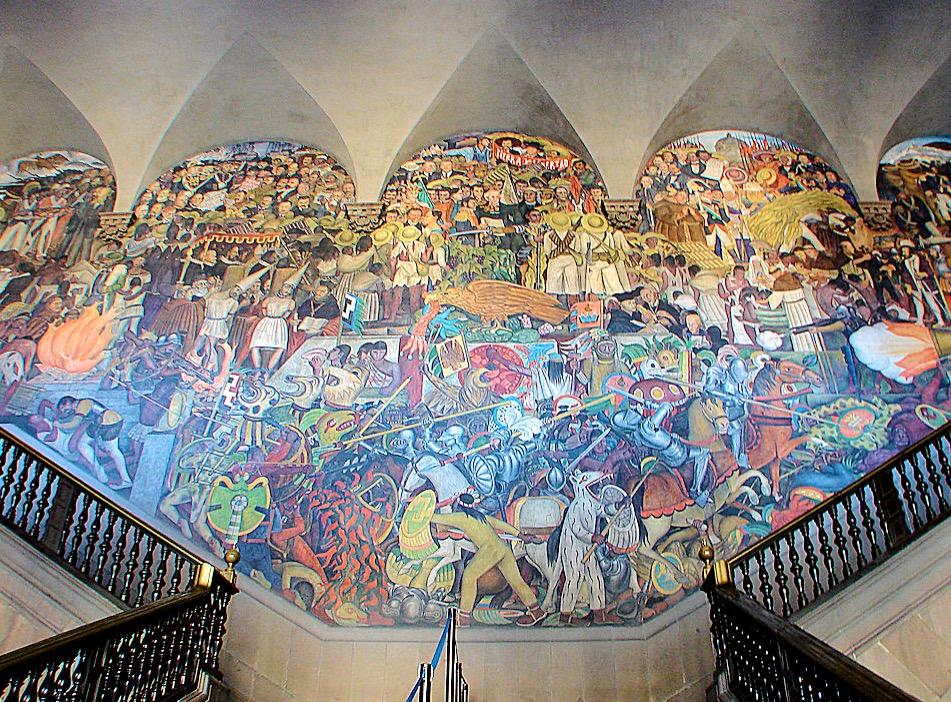 Красивейшие фрески Диего Риверы в резиденции призедента Мексики, Площадь Сокало