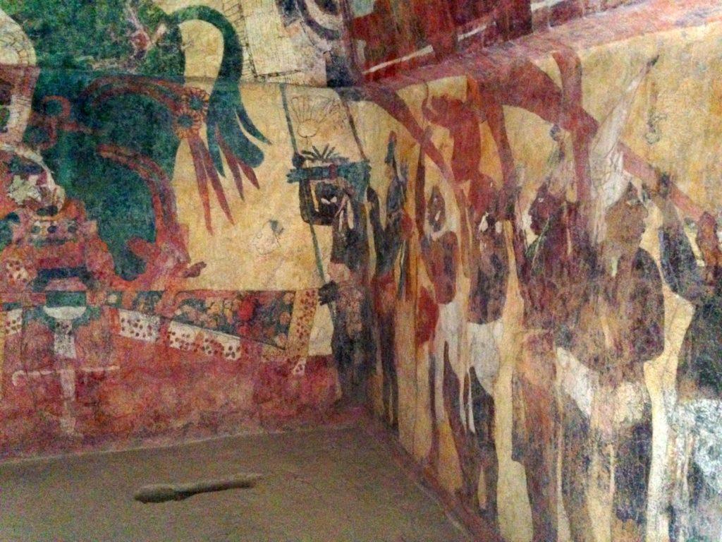 Комнаты с настенными муралями нанесенными в конце восьмого столетия, Храм Фресок, город Бонампак, Мексика