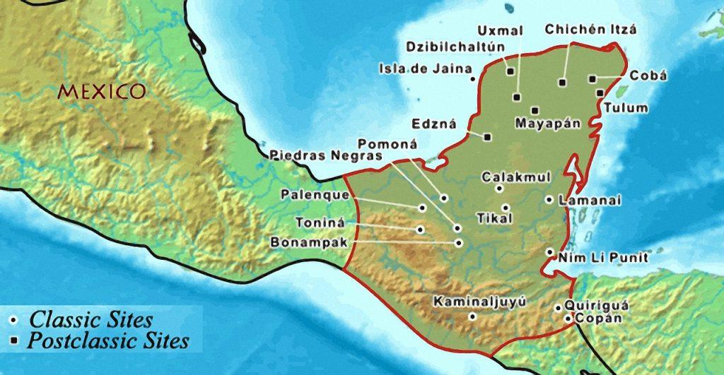 Расположение основных городов Майя на полуострове Юкатан.