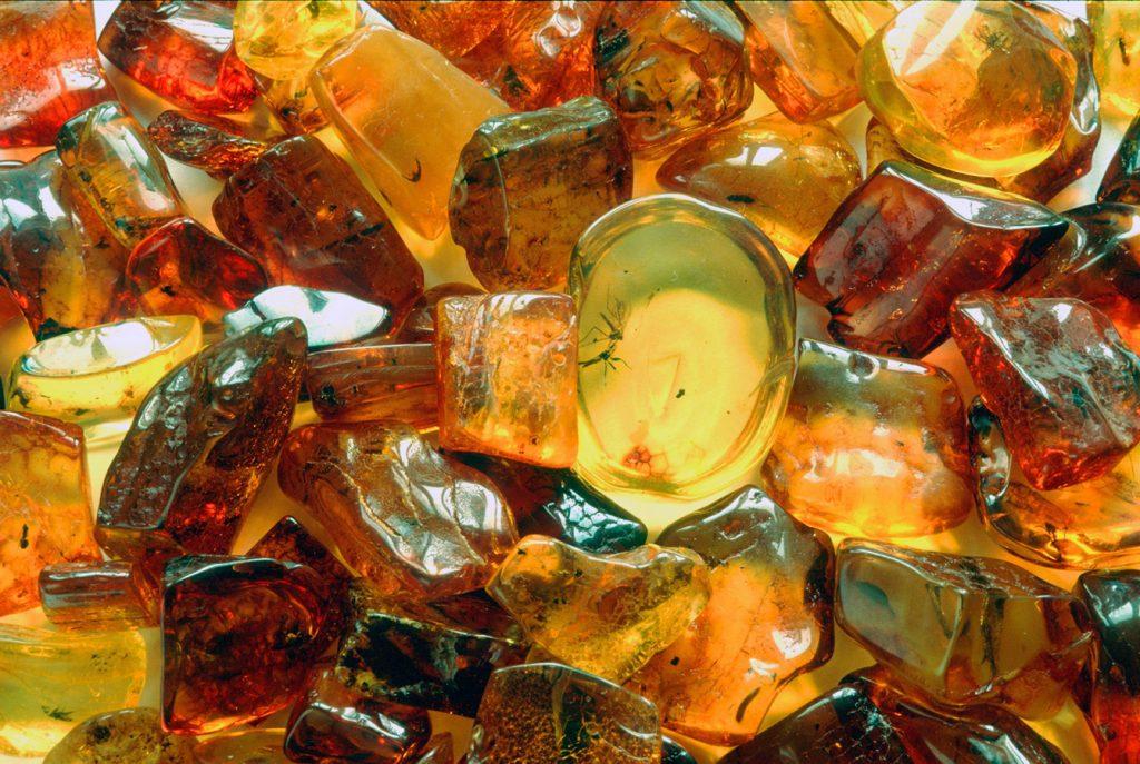 Янтарь может быть желтого цвета, а также встречается красный, зеленый и фиолетовый!